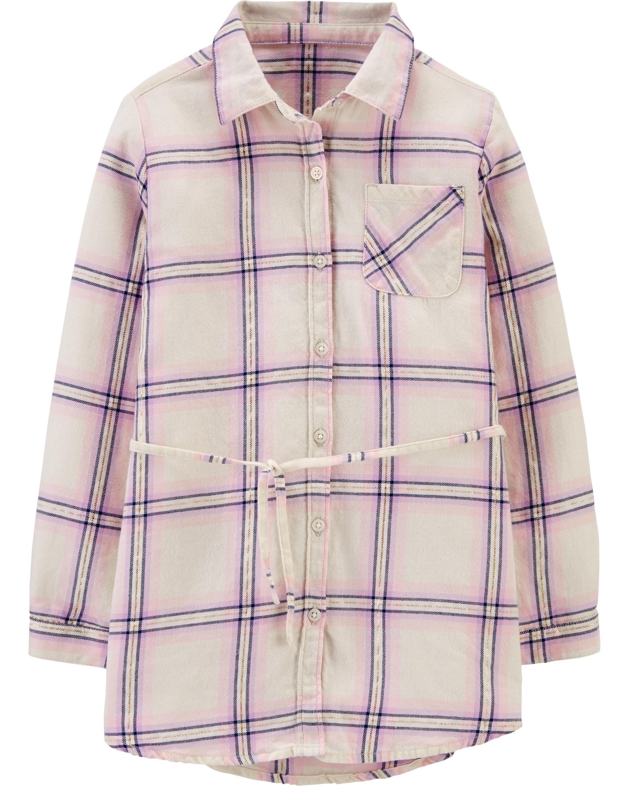 *CLEARANCE*Metallic Plaid Flannel Tunic