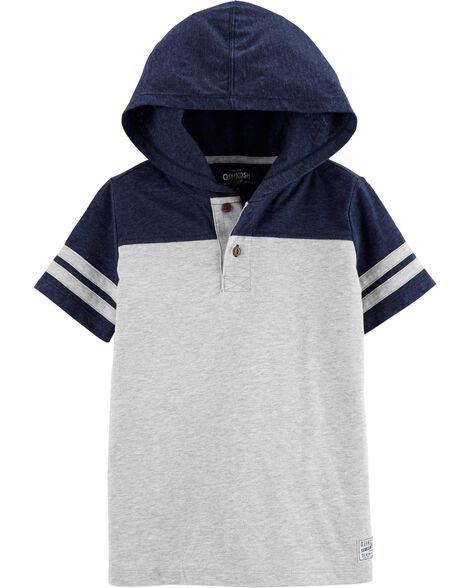 Short Sleeve Hooded Henley Pullover