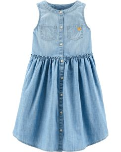 edef04040f2 Sleeveless Chambray Dress