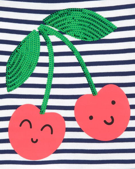 Cherry Peplum Hem Top