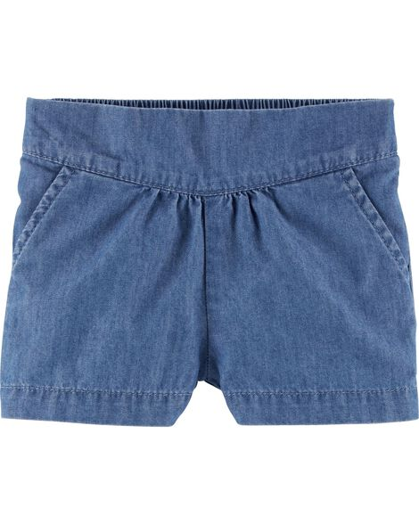 Pleated Pull-On Chambray Shorts