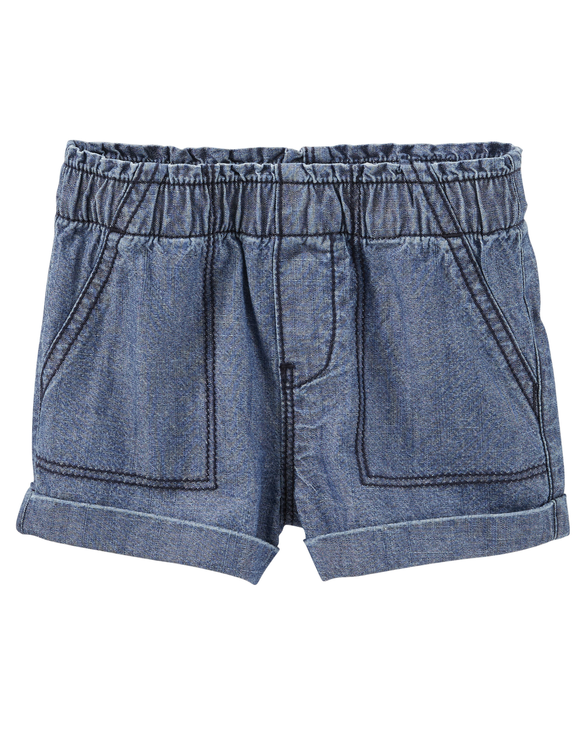 Pull-On Chambray Shorts