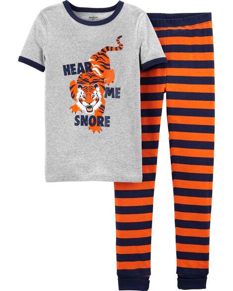 2-Piece Snug Fit Tiger Cotton PJs