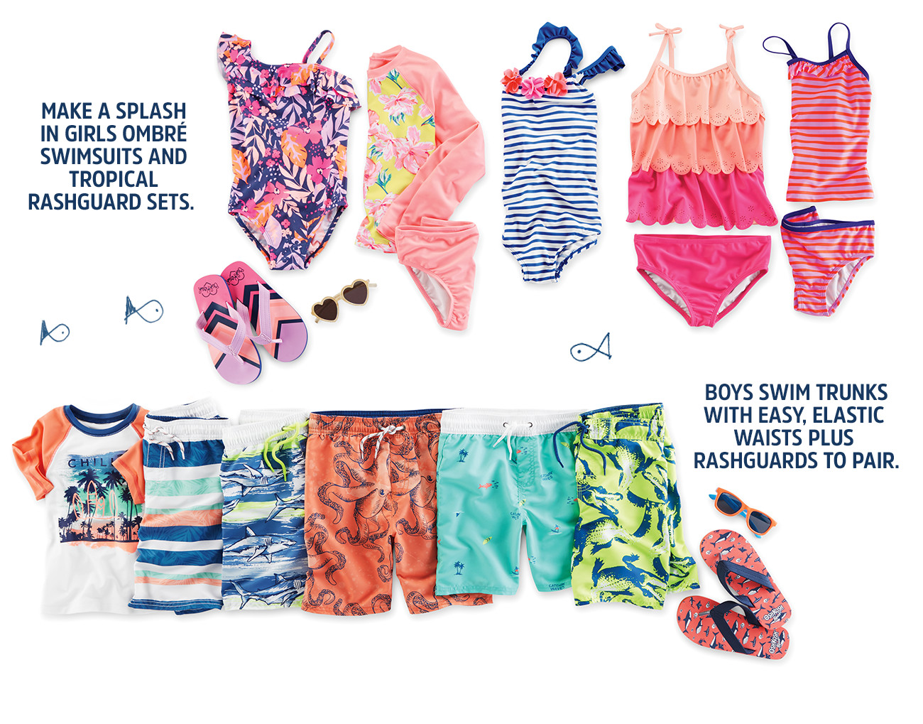 8cff5f1f5e make a splash in girls ombre swimsuits and tropical rashguard sets. | Boys  swim trunks