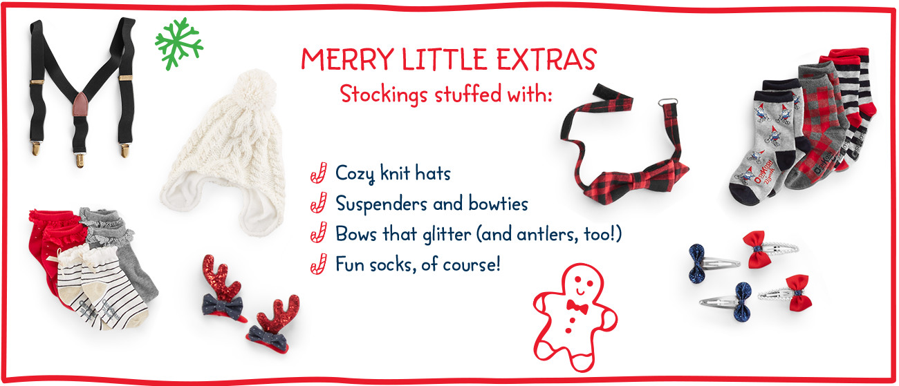 MERRY LITTLE EXTRAS | Stockings stuffed with: Cozy knit hats | Suspenders and bowties | Bows that glitter (and antlers, too!) | Fun socks, of course!