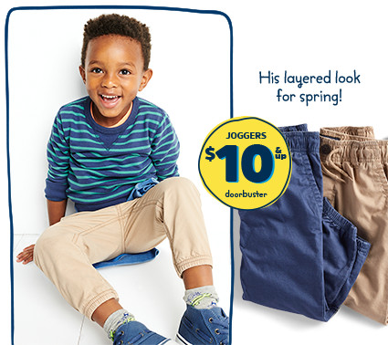 His layered look for spring! JOGGERS $10 & up doorbuster