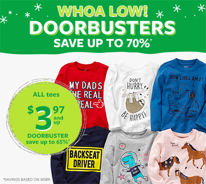 whoa low doorbusters | all tees $3.97 and up