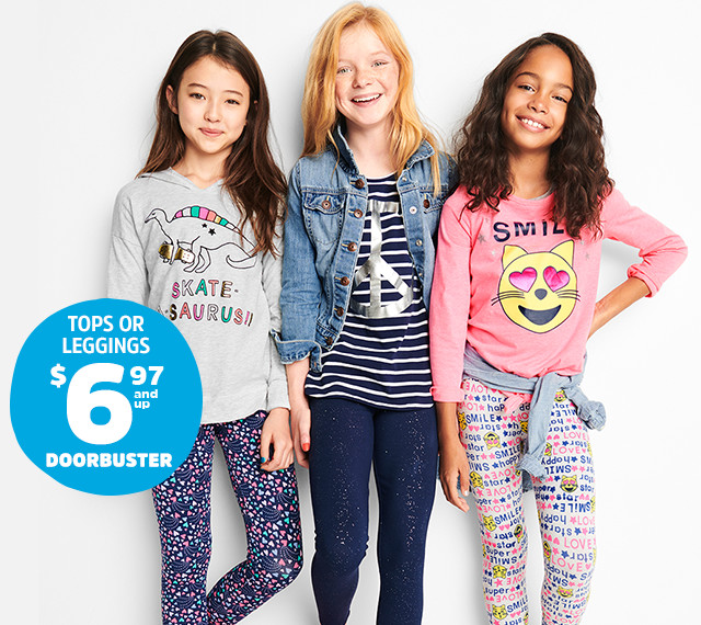 TOPS OR LEGGINGS $6.97 AND UP DOORBUSTER