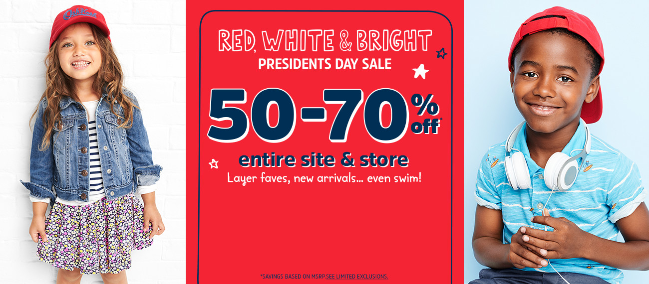 RED, WHITE & BRIGHT PRESIDENTS DAY SALE | 50%-70% off* entire site & store | Layer faves, new arrivals... even swim! | *SAVINGS BASED ON MSRP. SEE LIMITED EXCLUSIONS.
