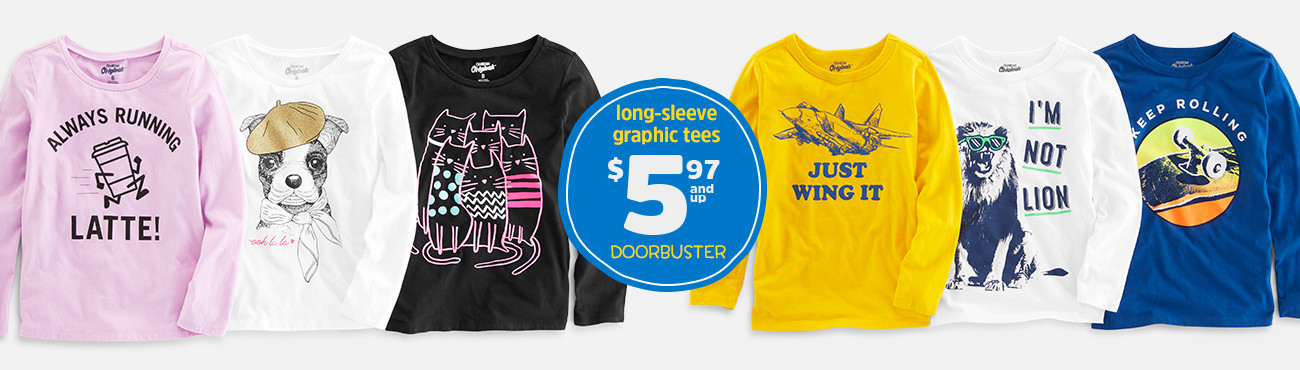 long-sleeve graphic tees $5.97 and up DOORBUSTER