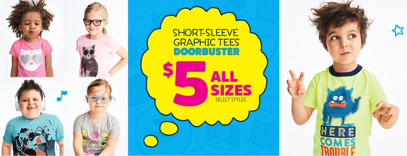 SHORT-SLEEVE GRAPHIC TEES DOORBUSTER $5 ALL SIZES | SELECT STYLES