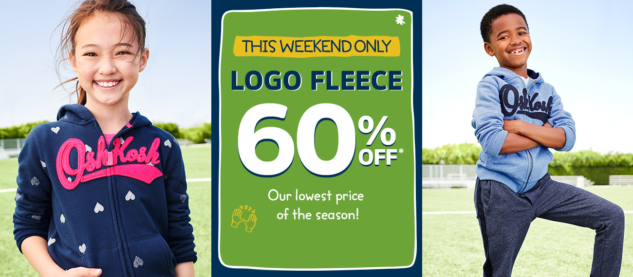 THIS WEEKEND ONLY | LOGO FLEECE 60% OFF* | Our lowest price of the season!