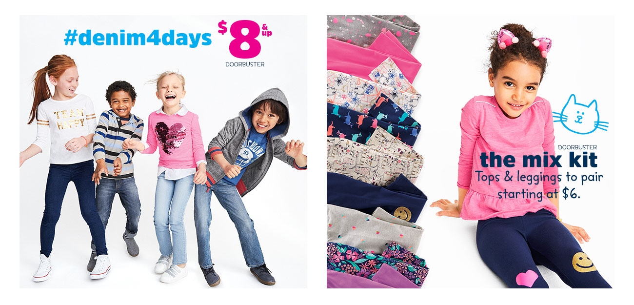 #denim4days - $8 and up doorbuster | The Mix Kit Doorbuster - Tops and leggings to pair starting at $6