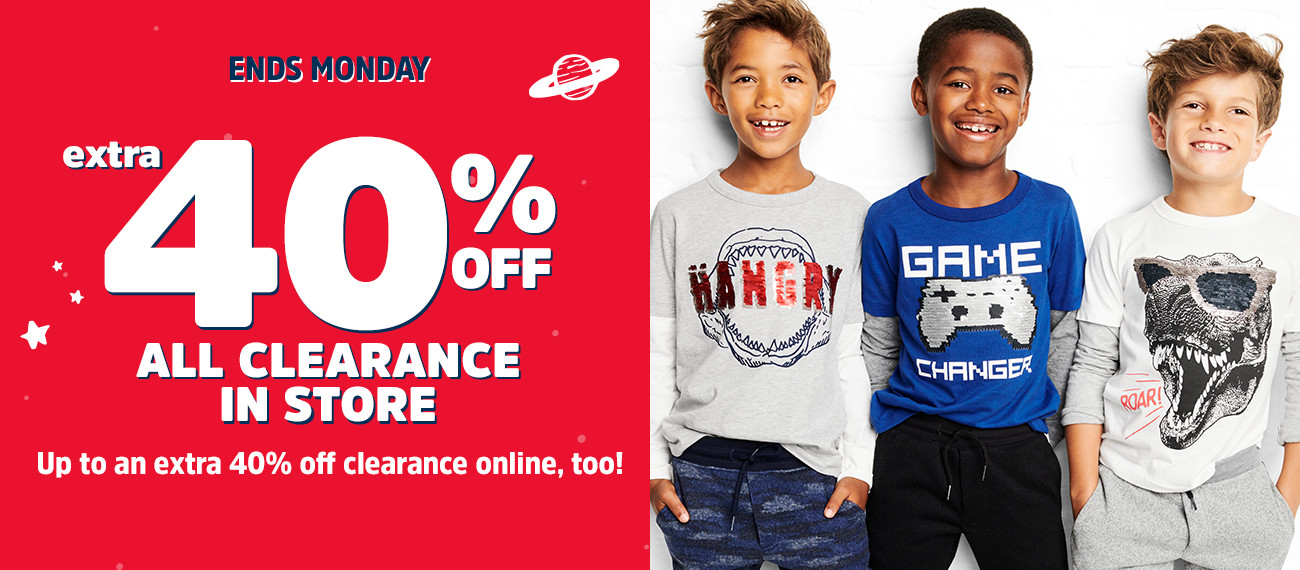 ENDS MONDAY | an extra 40% OFF ALL CLEARANCE IN STORE | Up to an extra 40% off clearance online, too!