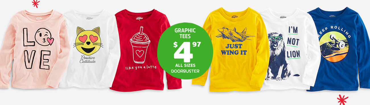 GRAPHIC TEES $4.97 ALL SIZES DOORBUSTER