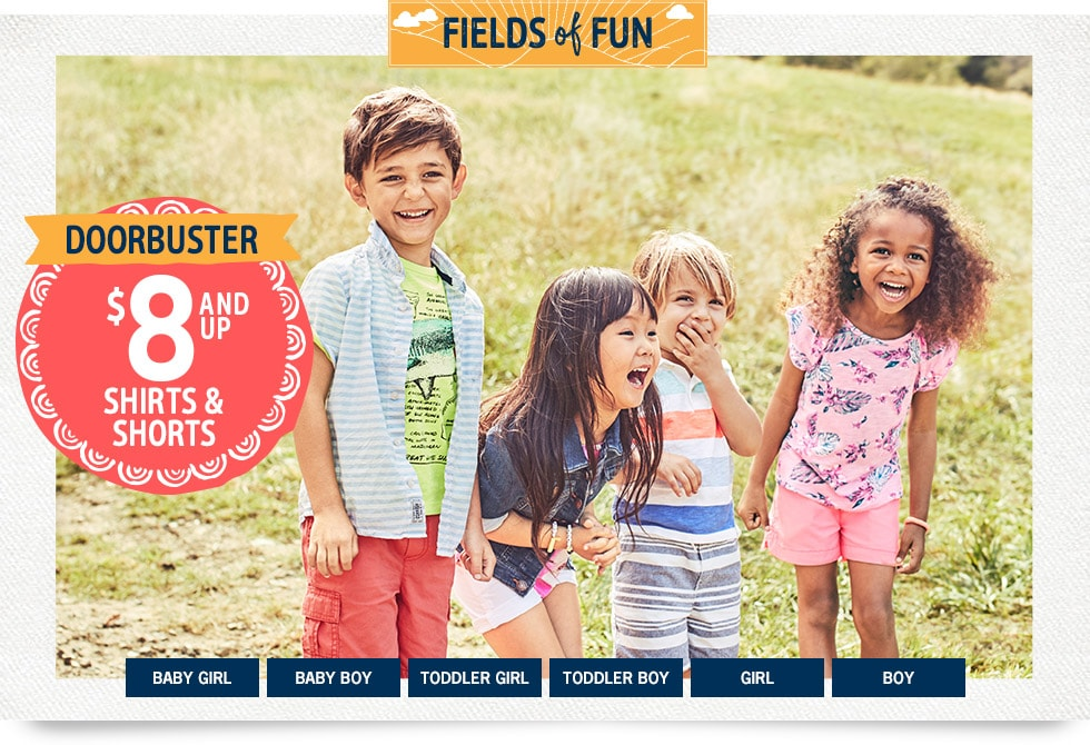 Fields of Fun | Doorbuster | $8 and up Shirts and Shorts