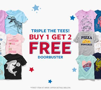 triple the tees! buy 1 get 2 free doorbuster