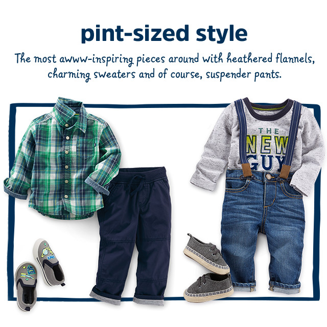 pint-sized style - The most awww-inspiring pieces around with heathered flannels, charming sweaters and of course, suspender pants.