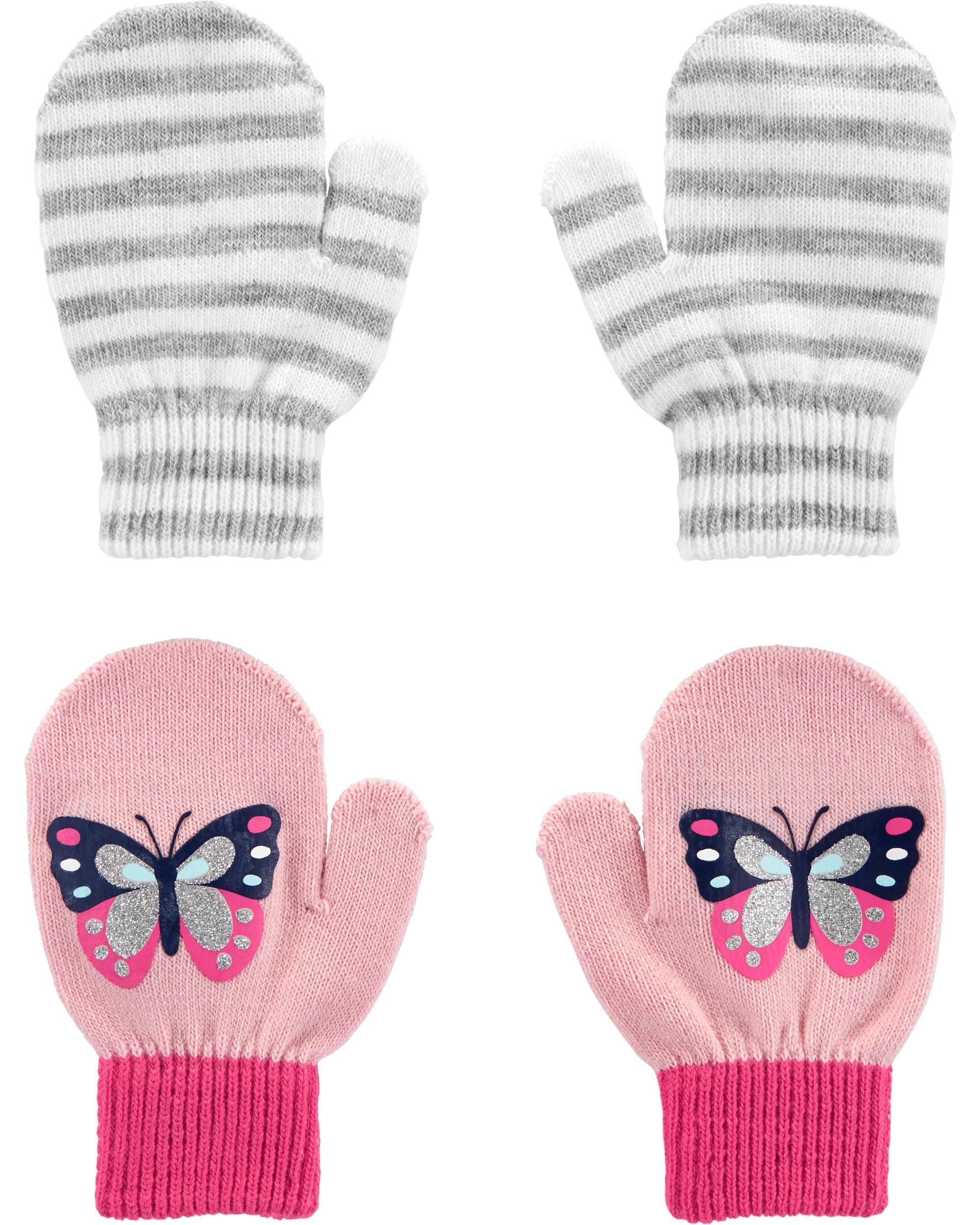 Pink//Grey Carter/'s Girls Size 2T-4T Winter Hat /& Mittens 3-Piece Set