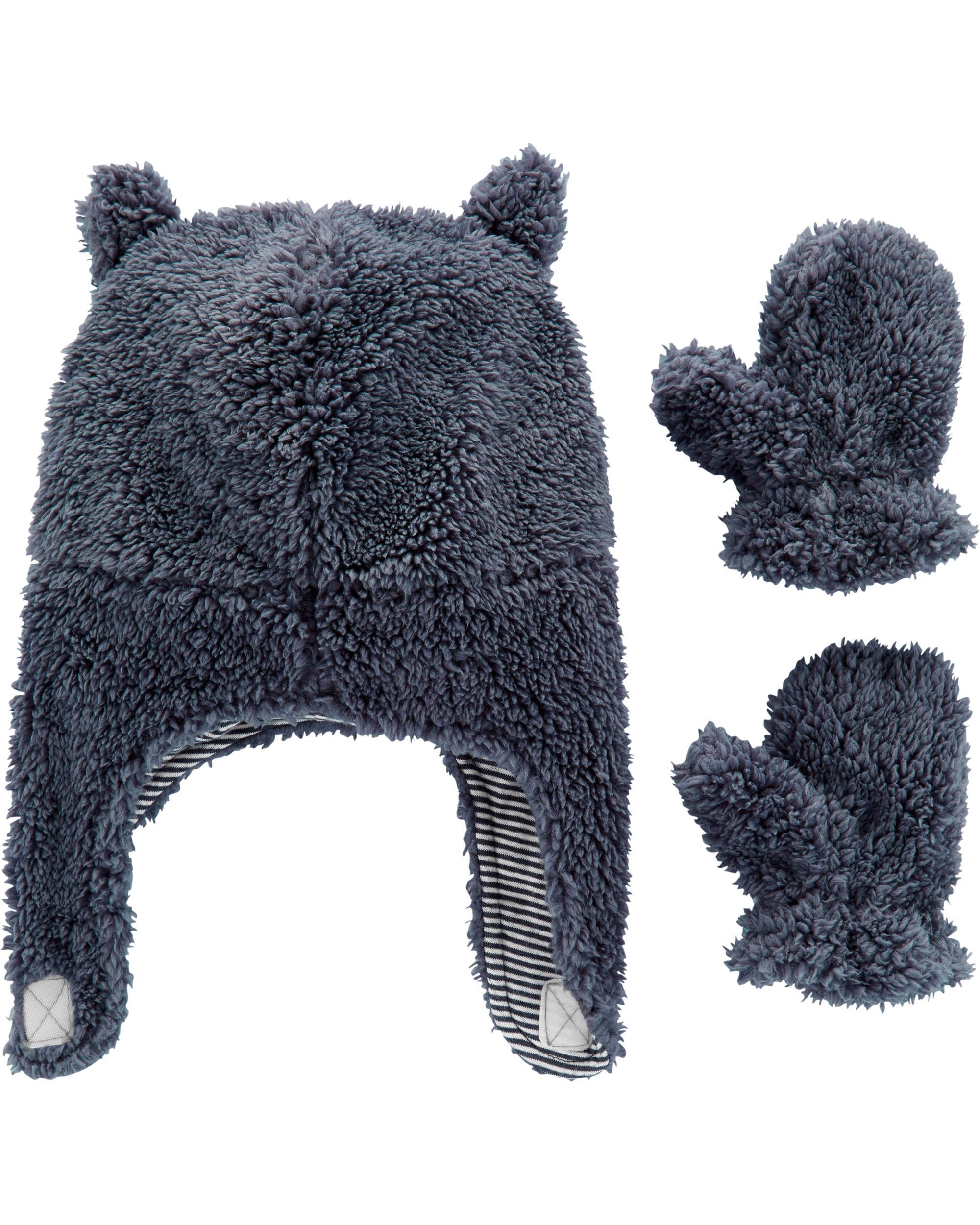 2 Piece Sherpa Hat Amp Mitten Set Oshkosh Com